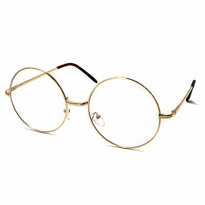 OVERSIZED Super Large XL Round Metal Unisex Frame Circle Clear Lens Eye Glasses