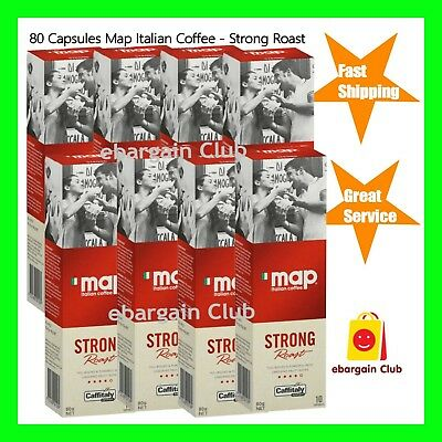 80 Capsules Map Italian Coffee Strong Roast Capsule Pod Caffitaly System eBC