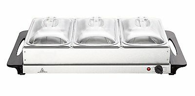 Kingavon 3 Pan Stainless Steel Buffet Server and Warming Tray & Lids Food Warmer
