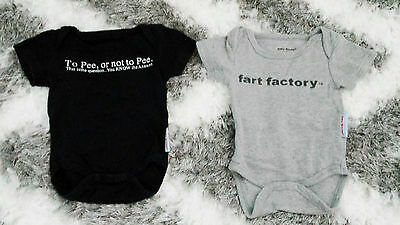 Silly Souls Baby Set 2 Lot Grey Black Onesies Fart Factory Pee Not To Pee 0-3 Mn