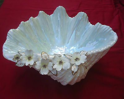 Beautiful Vintage Shabby Lustre Clam Shell Bowl with Delicate Hand Made Flowers