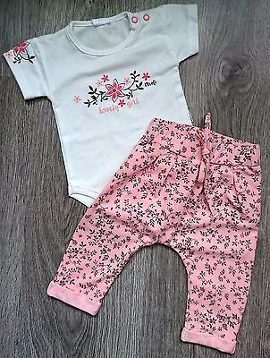 """NEW  """"LOVELY GIRL"""" Outfit / Set of Babygrow & Floral Trousers **"""