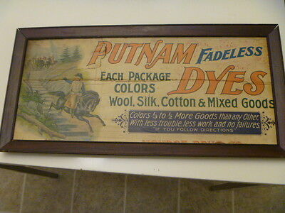 Putnam Fadeless Dyes Wooden Wood Advertising Sign Country Store Vintage Old