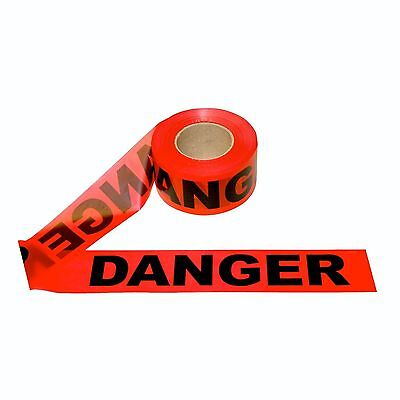 "One New Cordova Safety RED Danger Tape 2 MIL 3""x1000'- Free Shipping"