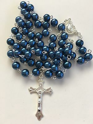 ROSARY BEADS - BLUE with 40mm CRUCIFIX  & MARIAN CENTRE