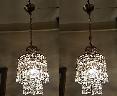 Pair of Antique Vn Small French Swarovski cut crystal chandelier lamp 1940's 6in