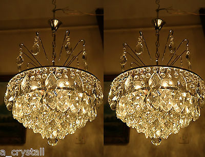 PAIR Vintage.Nickel plated French Basket Style Crystal Chandelier Lamp 1960's