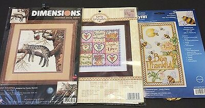 Lot 3 TOO POOPED Cross Stitch Kit by Dimensions / SweetLove Dreams /Bee Thankful