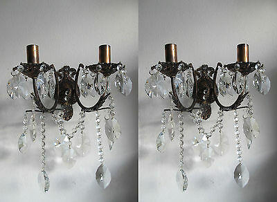 Antique Vintage Pair of French Aplique Crystal  wall sconce 1940's