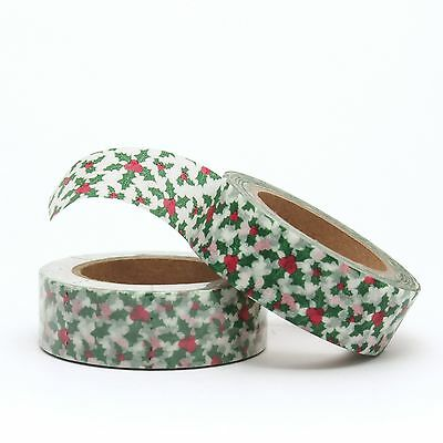 Washi tape Green Christmas Holly 15mm x 10m