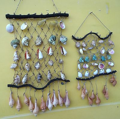 HOME DECOR BALINESE HANDMADE SEASHELL ON NET WINDCHIME DESIGN 70cmH+48cmH SET x2