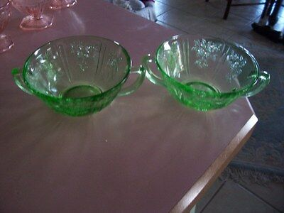 """Sharon Cabbage Rose green 5"""" cream soup bowls (2)"""
