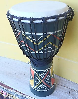 BALINESE HAND CARVED BONGO DRUM DOUBLE STRING PERCUSSION GOAT SKIN TOP 50cmH