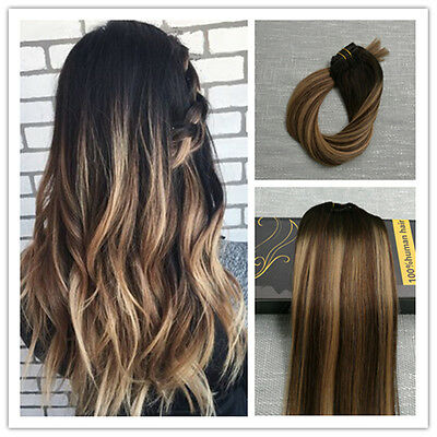 6A Remy Balayage Ombre Clip In Human Hair Extensions Full Head Brown Blonde Hot