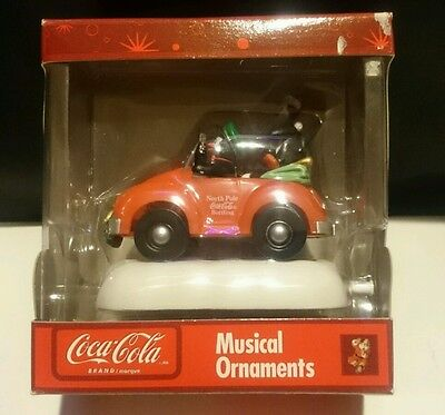 Coca- Cola Musical Christmas Ornament, Penguins Riding in car