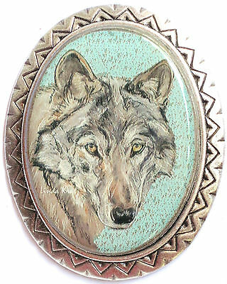 wolf wearable art southwestern pin