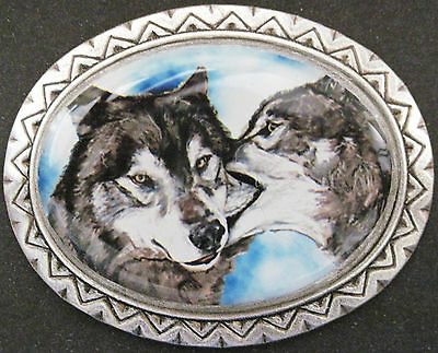 grey wolf pair original art southwestern pin