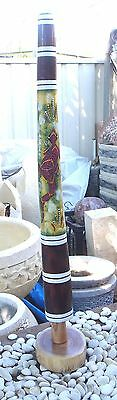 HAND CARVED KIDS DIGERIDOO DOT ART DESIGN COLOURS 90cmH STAND INCLUDED
