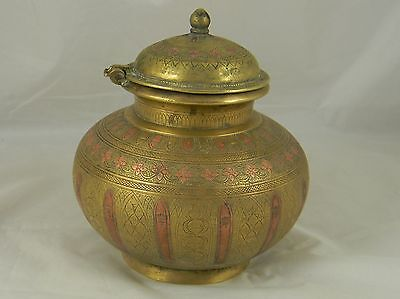 Fine Antique Brass Lidded Pot Jar Copper Inlaid India Engraved