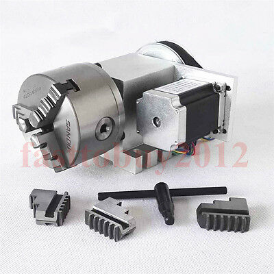 CNC Router Rotational Rotary Axis 4th Axis 3 Jaw  Chuck 100mm for CNC Machine