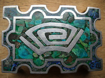Taxco Sterling 925 Belt Buckle Malachite Lapis Turquoise Inlay Design Signed