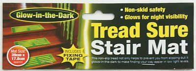 GLOW IN THE DARK NON SLIP TREAD SURE STAIR MAT WITH FIXING TAPE 39 x 17.8cm