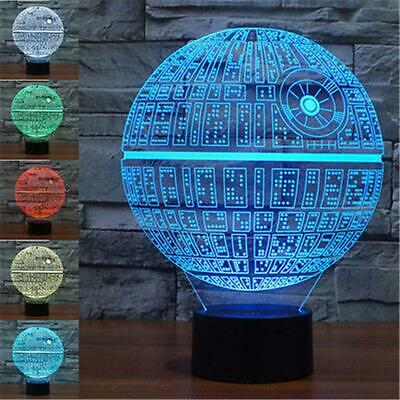 7 Color 3D LED Star Wars Death Star Night Light Touch Switch Table Desk Lamp NEW