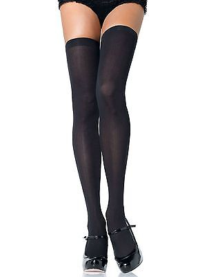 Plus Size Opaque Thigh High Stockings - Black - Size 16 to 20