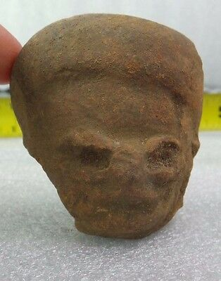 Pre Columbian Colombian Mayan Terracotta Figure Head  #21