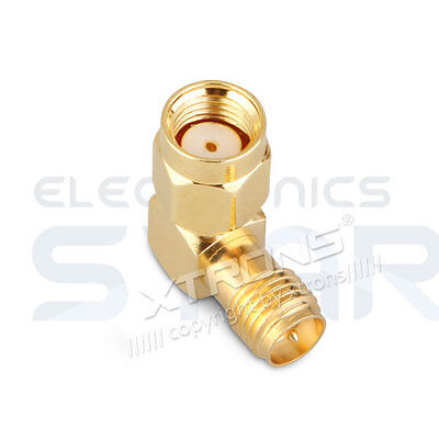 Male RP-SMA Plug to Female RP-SMA Jack RIGHT ANGLE 90 Degree Adapter Connector