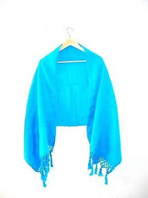 Genuine Mexican hand woven pashmina rebozo shawl scarf table runner aqua blue