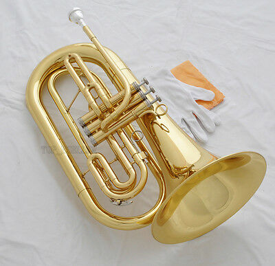 Professional Bb Marching Baritone Gold new Horn Monel Valve With Case Mouthpiece