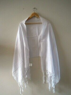 Genuine Mexican hand woven pashmina rebozo shawl scarf table runner black