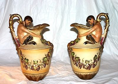 2 Antique Medieval Faun Greek Porcelain Pitcher w/ Gold Guild Floral Designs.