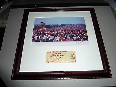 Woodstock photograph 1969 Signed in 1994 by Tiber w festival ticket 1969 (GREEN)