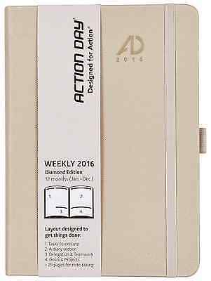 Action Day Planner 2016, Fashion Calendar - Daily Weekly Yearly Monthly Organize
