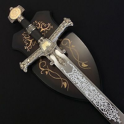 Medieval Israel King Solomon 440 Stainless Steel Crusader Sword with Plaque