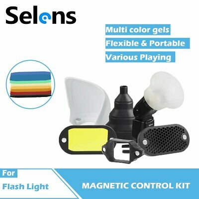 Selens Speedlight Flash Honeycomb Grid & 7 Color Gels Set Universal Magnetic UK