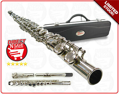FLUTE 16 key Student C-foot Nickel Plated. Hard Case strap and cloth REFURBISHED