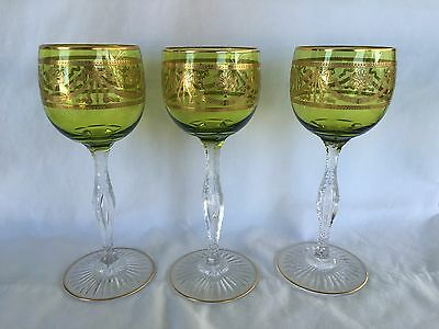 "St Louis Crystal Chartreuse & Gold Encrusted 7.25"" Wine Goblet (3 available)"