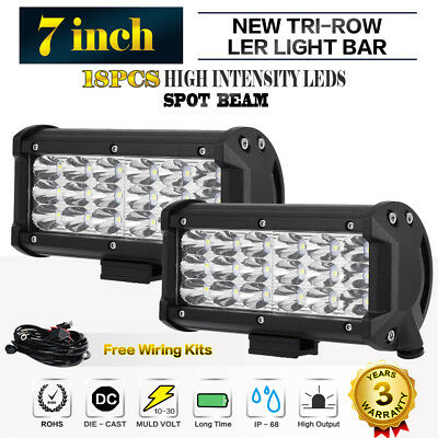 2x 7Inch 252W Philips Led Light Bar Spot Light Offroad Work Lamp 4x4WD Truck SUV