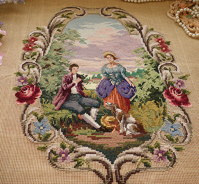 """30"""" French Vintage Chic Needlepoint Canvas Dating Romantic Young Lovers With Dog"""