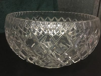 Antique Bohemian Hand Cut Crystal Bowl, Classic Diamond Cut Design