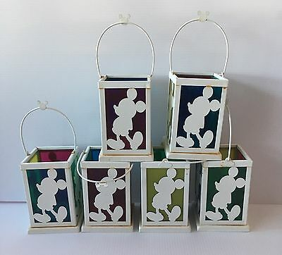 6 DiSNEY Mickey Mouse metal lantern candle holder silhouette