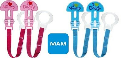 MAM I Love Mummy and Daddy Soother Clips (2 Pack), Dummy Clips/Holders