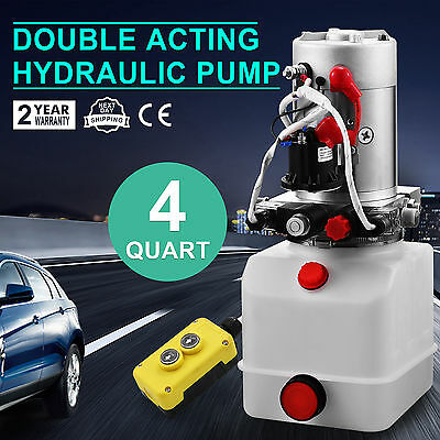 2200W Double-Acting Hydraulic Pump Power Pack with Controller - 12 VDC 3 Quart