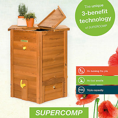 Supercomp Wooden Composter – Garden Compost Bin - no turning the pile anymore