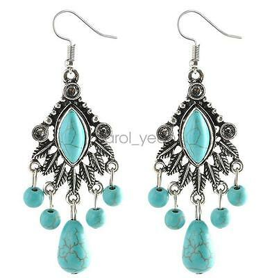 Fashion Women Long Noble Style Eardrop Tassels Bohemia Style Calaite Earrings