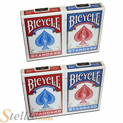 4 x Bicycle Standard Rider Back Deck Playing Cards - 2 Red & 2 Blue Decks