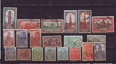 India 1st Definitive Series Archaeology 1949 Complete Set of 20 Stamps Cat £48